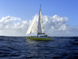 French catamaran overtakes me on the way