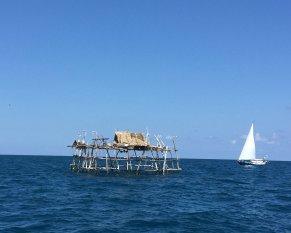 Numerous fishing platforms off Bangka