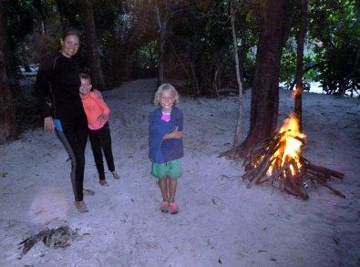 Happy evening bonfire at favourite Lankawi spot (secret!)